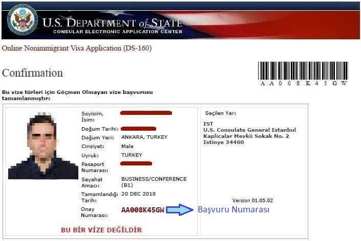 amerika vize başvuru formu çıktısı