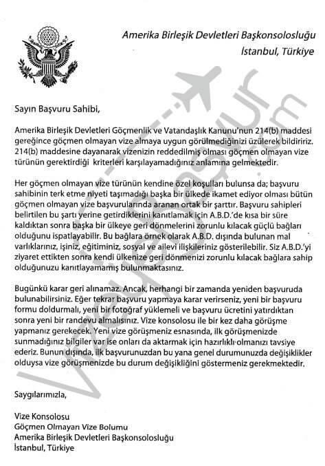 214b vize ret mektubu türkçe